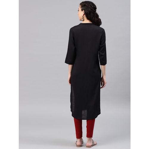 Alena Women Black Embroidered Straight Kurta
