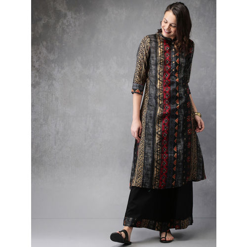 Anouk Women Black Printed Kurta with Palazzos