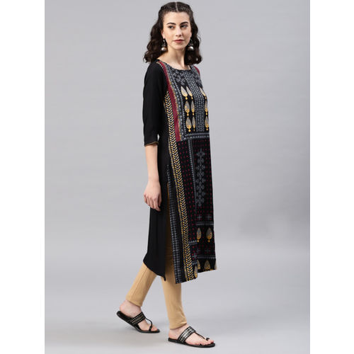 Alena Women Black Printed Straight Kurta