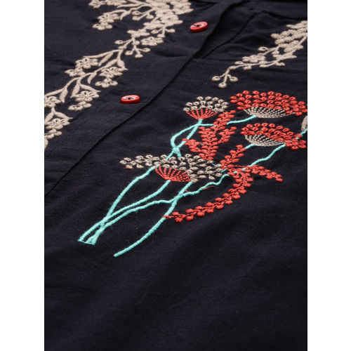 Alena Black Cotton Yoke Design Straight Kurta