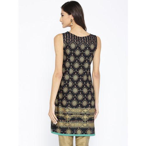 AURELIA Women Black & Golden Printed Straight Kurta