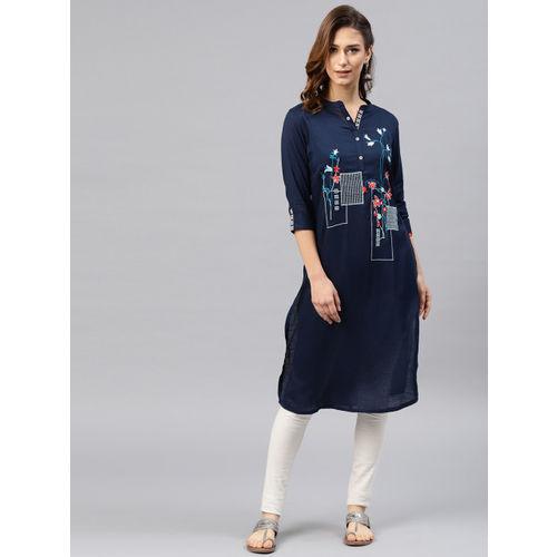 Alena Women Navy Blue Embroidered A-Line Kurta