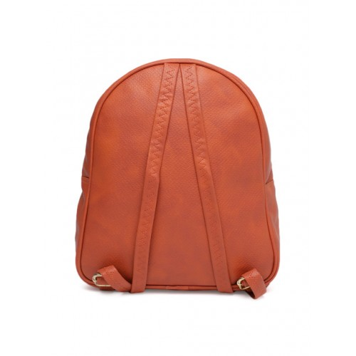 Baggit Orange Polyurethane Textured Backpack