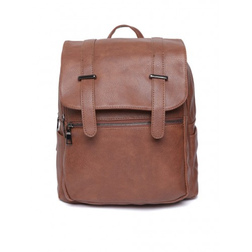 Mast & Harbour Brown Polyurethane Solid Backpack