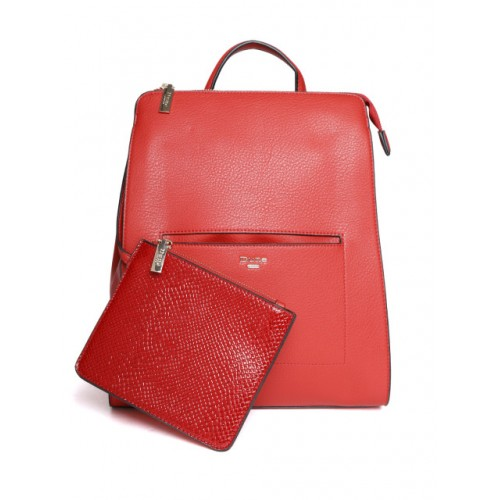 Dune London Red Polyurethane Solid Backpack