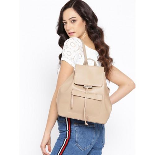 DressBerry Beige Polyurethane Solid Backpack