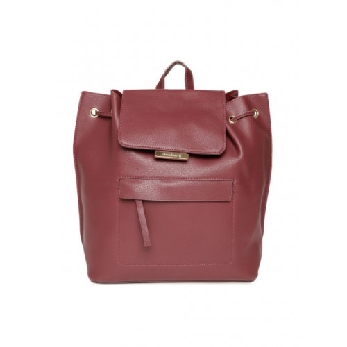 DressBerry Maroon Polyurethane Solid Backpack