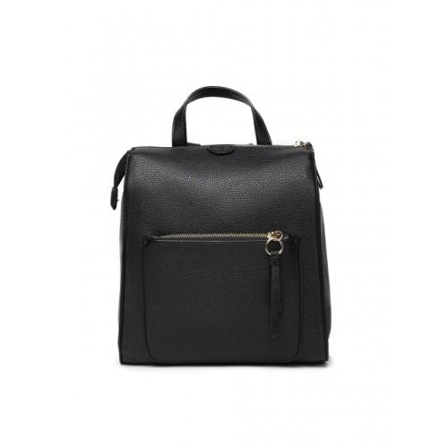 Accessorize Black Polyurethane Solid Backpack