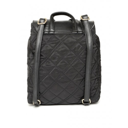 DressBerry Black Synthetic Quilted Backpack