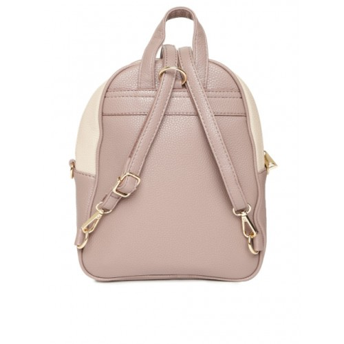 DressBerry Beige & Taupe Polyurethane Colourblocked Backpack
