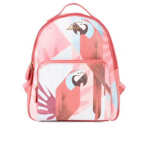 Lavie Pink Polyurethane Printed Backpack