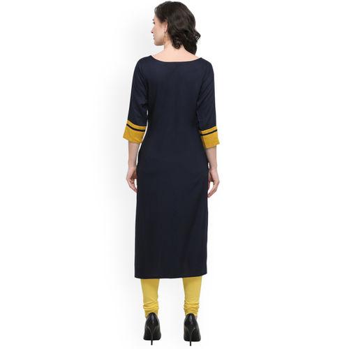 Kvsfab Women Navy Blue & Mustard Printed Straight Kurta