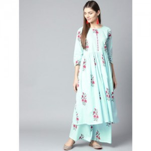 Nayo Blue Cotton Printed Kurta with Palazzos