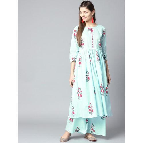 Nayo Blue & Pink Cotton Printed Kurta with Palazzos