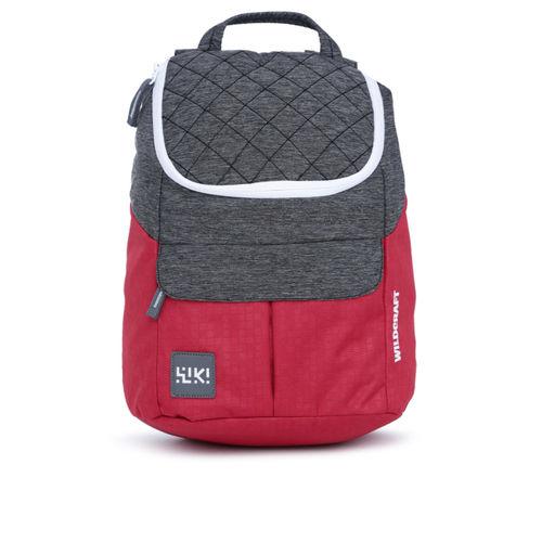 Wildcraft Grey Melange & Red Colourblocked Backpack