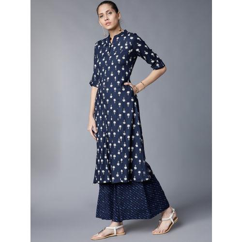 Vishudh Women Navy Blue Printed Kurta with Palazzos