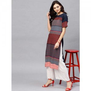Ives Women Navy Blue & Red Printed Straight Kurta