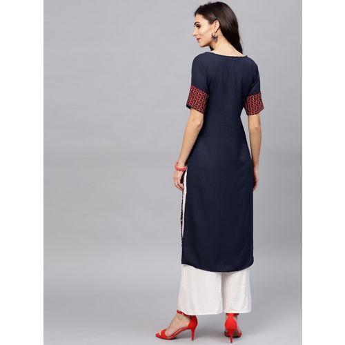 Ives Women Navy Blue & Red Printed Straight Kurta