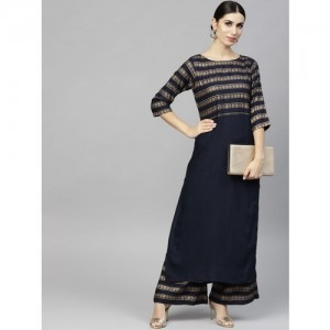 Nayo Navy Blue Cotton Striped Kurta with Palazzos