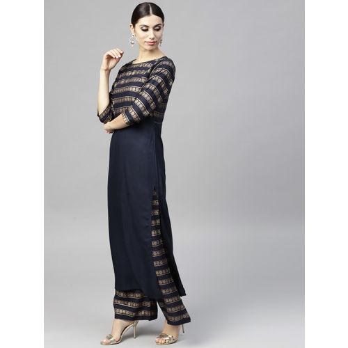 Nayo Navy Blue Cotton Striped Kurta with Palazzos