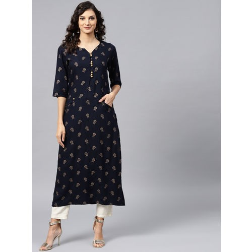 Nayo Women Navy Blue & Golden Printed Straight Kurta