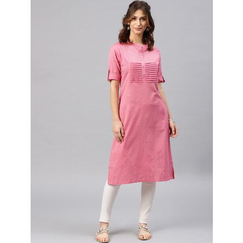 Alena Women Pink Solid Straight Kurta