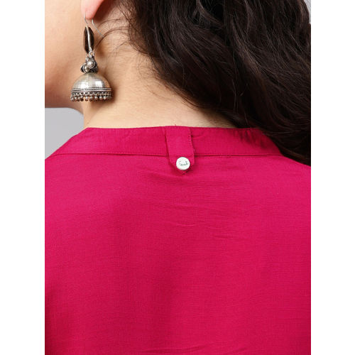 Alena Women Pink Yoke Design Straight Kurta