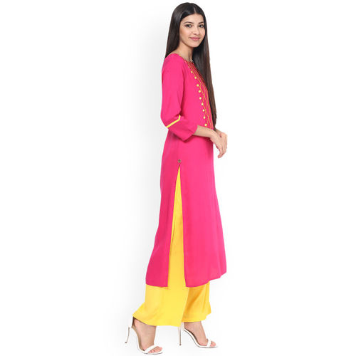 Jaipur Kurti Women Pink Yoke Design Straight Kurta