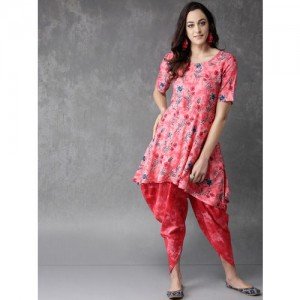 Anouk Pink Printed Kurta with Dhoti Pants