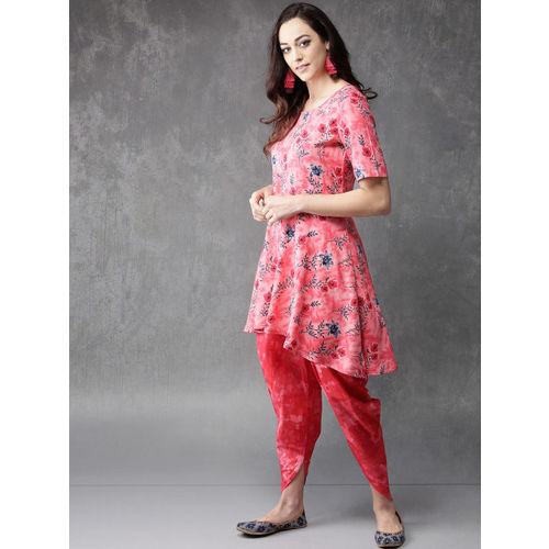 Anouk Pink Printed Kurta with Dhoti Pants