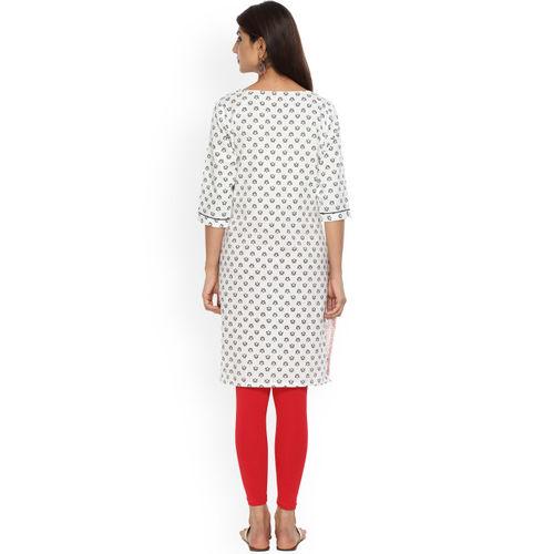 Alena Women Pink & White Printed A-Line Kurta