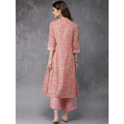 Anouk Women Pink & Grey Printed Layered Kurta with Palazzos
