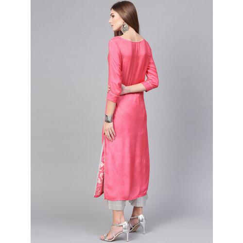 Pannkh Pink & White Printed Straight Kurta