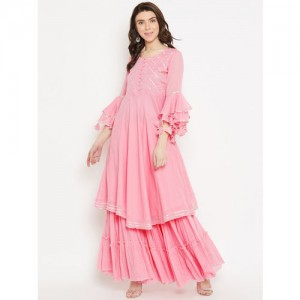 Sringam Women Pink Yoke Design Kurta with Skirt