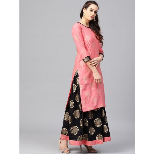 Nayo Women Pink & Black Printed Kurta with Skirt