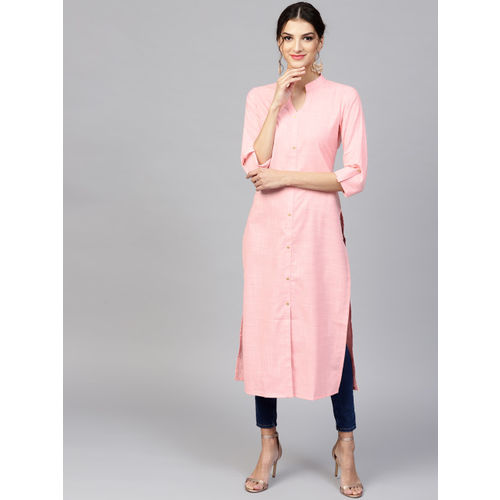 Libas Pink Cotton Self Design Frontslit Kurta