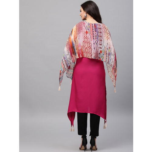 Shree Women Pink Printed Cape Straight Kurta