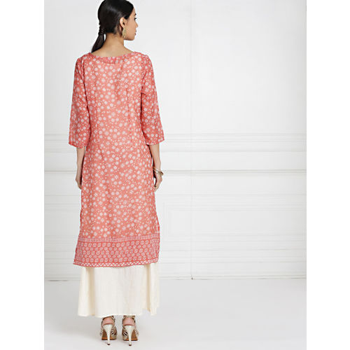 all about you Women Pink & Cream-Coloured Printed Straight Layered Kurta