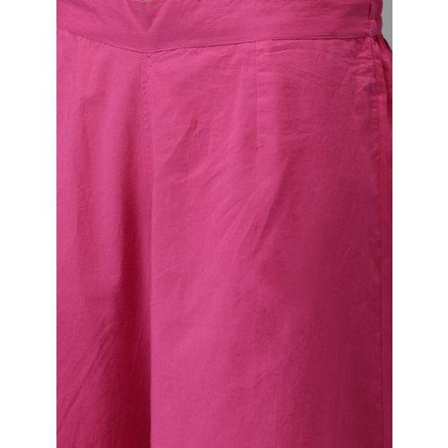 Anouk Women Pink & Orange Checked Kurta with Palazzos