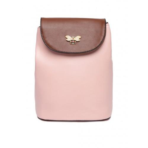 Ginger by Lifestyle Pink & Brown Polyurethane Embellished Backpack