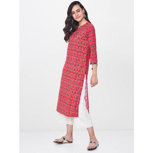 Global Desi Women Pink & Orange Printed Straight Kurta