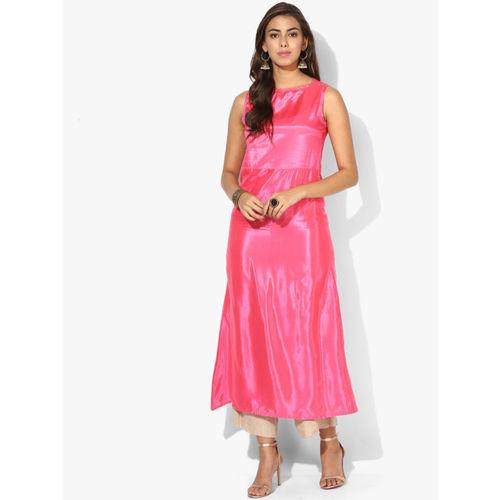 Sangria Women Pink Printed Straight Kurta