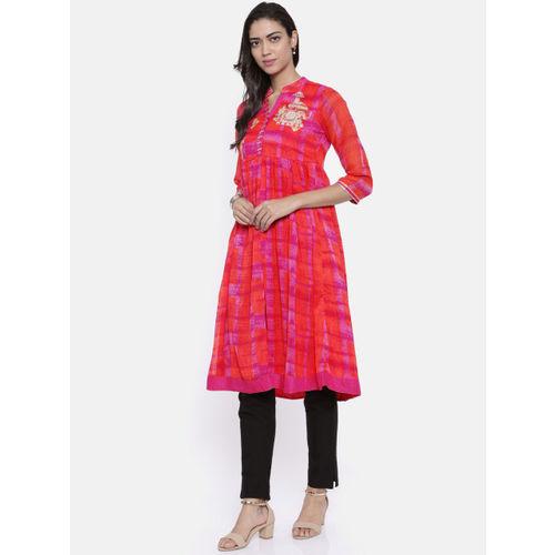Rangriti Women Pink & Orange Printed A-Line Kurta