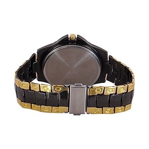 Generic The Shopoholic Analogue Black Dial Metal Belt Watch for Men - SILVER-GOLD-BLK-DIAL
