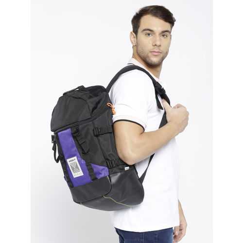 ADIDAS Originals Unisex Black & Purple Artic L Colourblocked Laptop Backpack