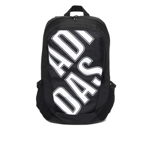 ADIDAS Unisex Black & White GR PARKHOOD Brand Logo Print Backpack