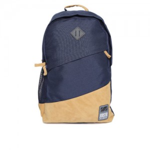 266f583556 Roadster Unisex Navy Blue   Brown Colourblocked Backpack