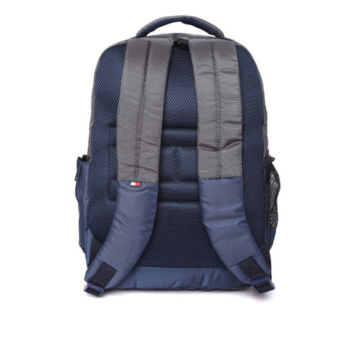 Tommy Hilfiger Navy Blue & Grey Unisex  Colourblocked Backpack
