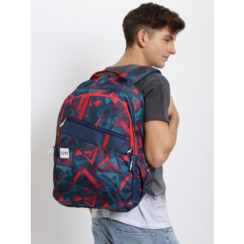 Wildcraft Unisex Navy Blue & Red Graphic Printed WIKI 4 Future Backpack