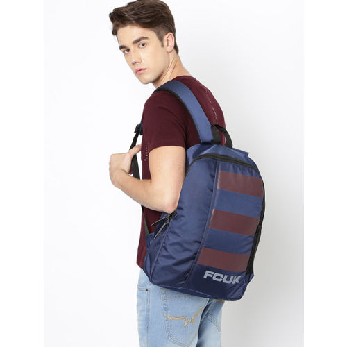 French Connection Unisex Navy Blue & Brown Brand Logo Backpack
